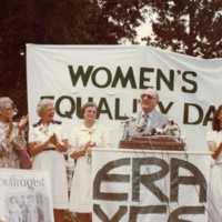 Sherry Sutton leads the procession to the Women's Equality Day Rally at the State Capitol, August 26, 1981