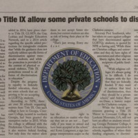 """The Collegian, 2016-01-13, """"Waivers to Title IX allow some private schools to discriminate"""""""