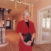 Evelyn Ullman, founding President of Jerusalem House, oversees recent renovations to the housing facility, 1992