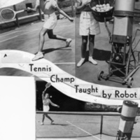 Female tennis player Gladys Vallebuona practicing with a tennis ball machine, 1936
