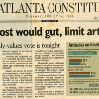 """Newspaper clipping -- """"Poll: Most would gut, limit art funds"""""""