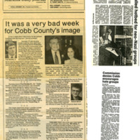 """Newspaper clipping -- """"It was a very bad week for Cobb county's image"""""""