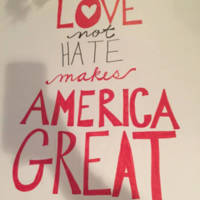 Love not Hate makes America Great sign, Atlanta March for Social Justice and Women, 2017-01-21