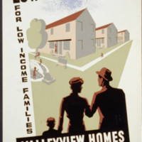 Low rent homes for low income families Valleyview homes, West 7th and Starkweather, graphic by the Federal Art Project, 1936