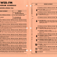 WSB-FM Program Schedule Winter-Spring 1965