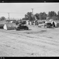 Near Holtville, Imperial Valley, California. Migratory labor housing during carrot harvest. This field owned by proprietor of adjoining grocery store who allows workers to camp here rent-free. Approximately sixty families were living in camp.