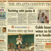 """Newspaper clippings -- """"Cobb board votes to kill arts funding"""""""