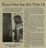 """The Georgia State University Signal, 1976-06-28, """"Equal Sex for All: Title IX"""""""