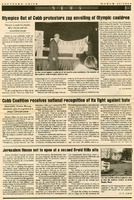 """Newspaper clipping -- """"Olympics Out of Cobb protestors zap unveiling of Olympic cauldron"""""""