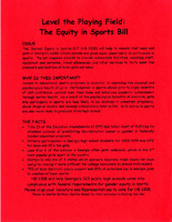 """""""Level the Playing Field: The Equity in Sports Bill"""""""