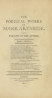 The poetical works of Mark Akenside [bound with] The poetical works of J. Armstrong, M.D.