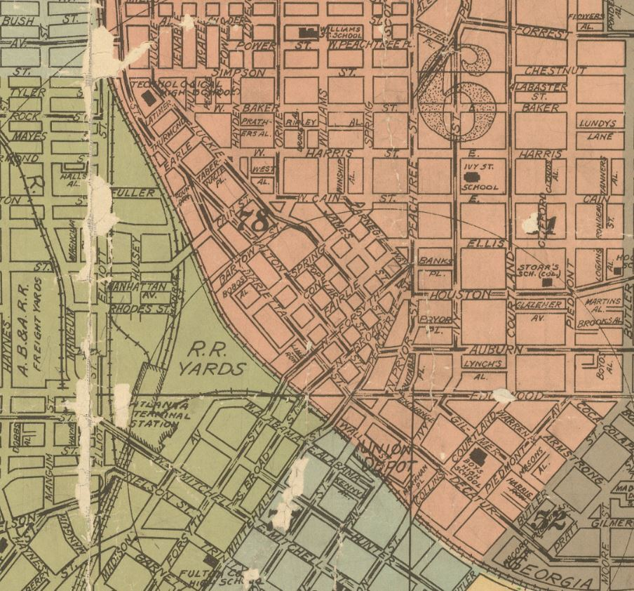Map of the City of Atlanta and Suburbs, 1921 [detail]