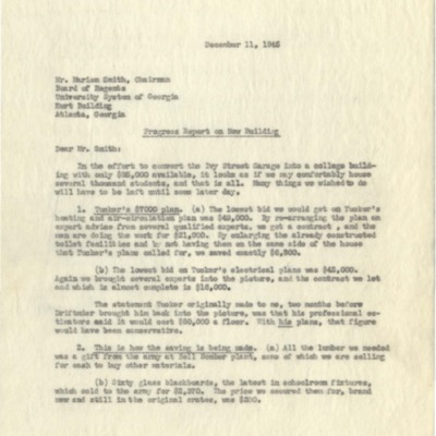 Letter to Marion Smith from George M. Sparks